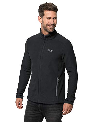 Jack Wolfskin Herren Midnight Moon Men Klassisch Robust Systemreißverschluss Outdoor Fleecejacke, schwarz, L