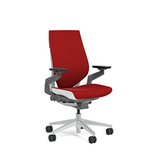 Steelcase Gesture Task Chair: Wrapped Back - Platinum Metallic Frame/Base/Seagull Accent - Standard...