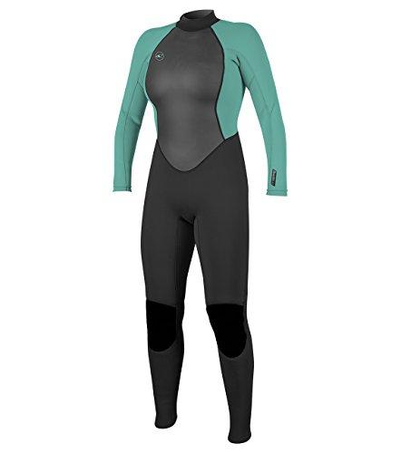 O'Neill Women's Reactor-2 3/2mm Back Zip Full Wetsuit, Black/Aqua, 14