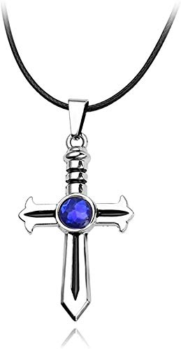 ZPPYMXGZ Co.,ltd Collar Anime Fairy Tail Espada Cruz Collar de Cristal Azul Cuerda Hombres Mujeres Collares Joyería