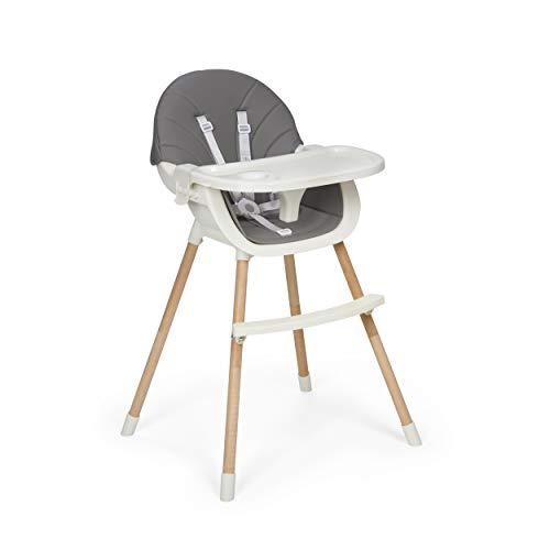 Innovaciones MS 2040 - Trona Para Bebe Mika, Convertible En Silla - 2 En 1 - Doble Bandeja, Evolutiva Y Segura, Unisex, color Gris, 3000 g