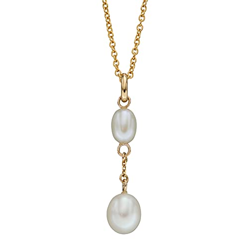 Elements Gold Collar con colgante de oro amarillo de 9 quilates con perlas de agua dulce y piedra y cadena de 46 a 51 cm