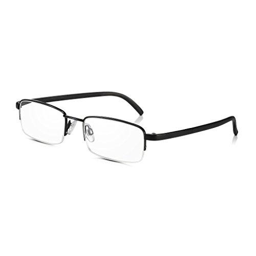 Read Optics Halbrahmen-Lesebrille: Vintage Black Semi-Randlos Ready Lesegeräte 1.5 (oder +1 bis +3.5). Optisch hochwertige rechteckige klare Brillen mit leichtem, haltbarem Edelstahl