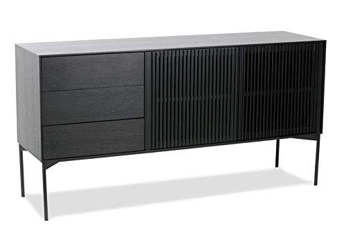 Loft24 A/S Sideboard 2 Türen Wohnzimmerschrank Modern Schrank Kommode Schwarz Esche Holz Metallgestell