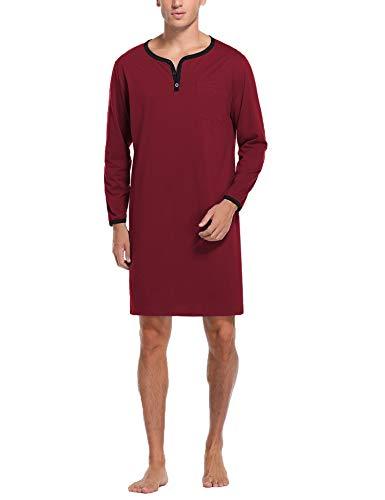 Sykooria Camisas de Dormir para Hombre Pijama de Manga Larga Camisa Henley con Botones en la Parte Superior Ropa de Dormir de algodón Ropa de Dormir Holgada