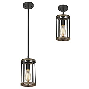 Eapudun Farmhouse Pendant Light, 1-Light Industrial Metal Wire Cage Hanging Lantern Ceiling Light Fixture for Kitchen Island Restaurant, Matte Black and Wood Finish, PDA1141-FBDT-NEW