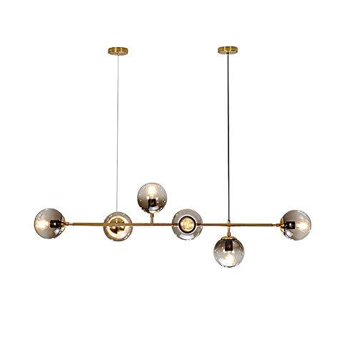 6-Luz pendiente de la lámpara Sputnik gris claro gradiente/luces de techo de vidrio transparente de la bola de pantalla, E27 Moderno colgante accesorio de iluminación de oro mate a Isla de cocina Lá