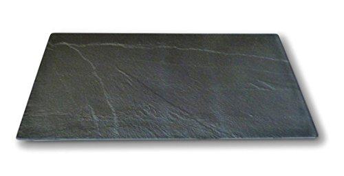 UrbanDesign Glas Schneidebrett Servierplatte Schiefer Platte Optik 50 x 26 cm Herd Abdeckplatte
