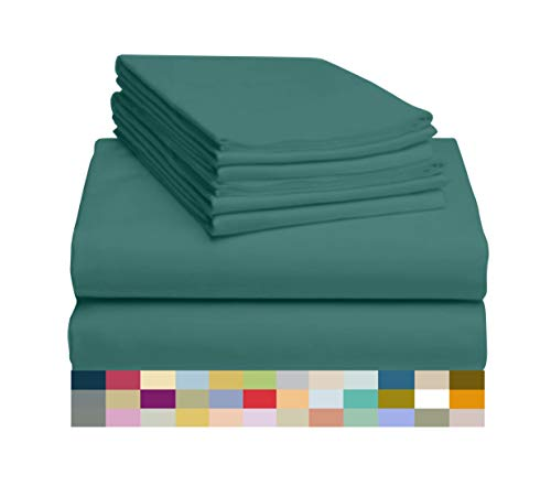 LuxClub 6 PC Sheet Set Bamboo Sheets Deep Pockets 18' Eco Friendly Wrinkle Free Sheets Hypoallergenic Anti-Bacteria Machine Washable Hotel Bedding Silky Soft - Teal Queen