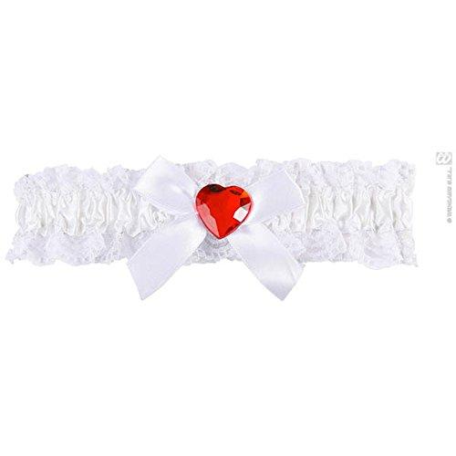 Widmann - AC1020/BLANC - Jarretiere dentelle blanche avec coeur rouge/assorti