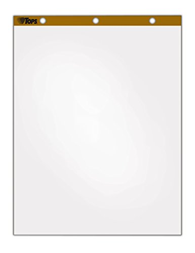 TOPS Standard Easel Pads, 3-Hole Punched, 27 x 34 Inch, Plain White, 50 Sheets/Pad, Carton of 4 Pads (7901) 50 Sheet White Pad
