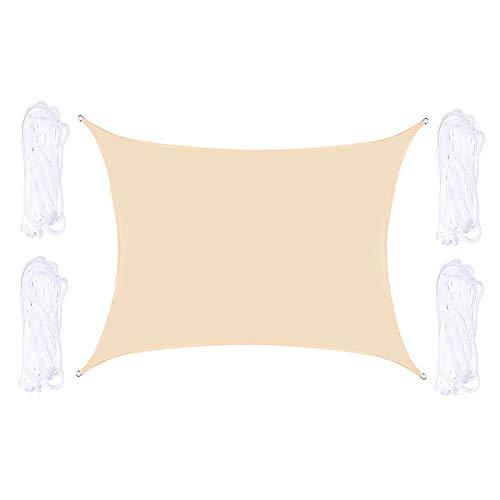 Velas de Sombra Impermeable Poliéster Rectángulo Intemperie Toldo Bloque UV con Cuerdas para Pabellón Jardín Terraza Pérgola, Personalizar-A-2x4m