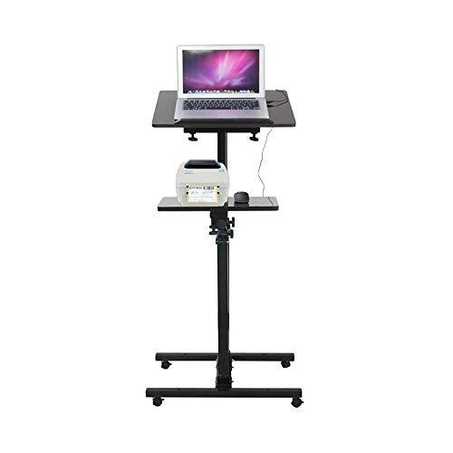 Dongy Bureau d'ordinateur réglable de Taille de Bureau réglable d'ordinateur Portable de Bureau Mobile de Levage, Bois, 60 * 36 * (85-120) cm