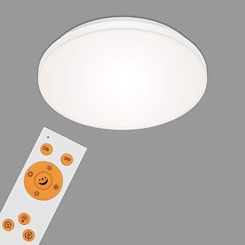 Briloner Leuchten Panel, lámpara de Techo LED Regulable, sin Marcos, Temperatura, Control Remoto Incl, 12 vatios, 1.600 lúmenes, Blanco, Ø 30 cm