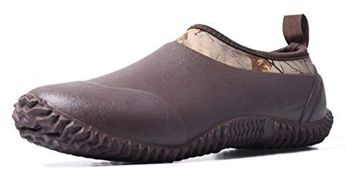 TENGTA Unisex Waterproof Rain Shoes Men Neoprene Rubber Yard Work Boots for Wet Weather Women Garden Shoes Brown 10.5