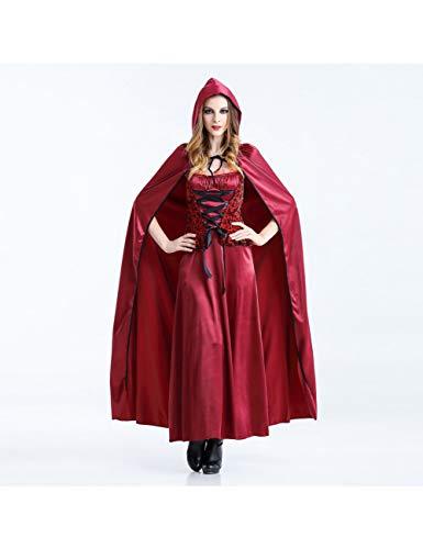 GBYAY 2PC Disfraces de Halloween Cosplay Mujeres Caperucita Roja Vestido Largo Traje