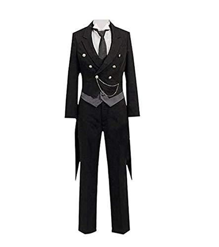Jeylu schwarz Butler Kuroshitsuji Sebastian Cosplay Kostüm EU Größe Gr. Medium, schwarz