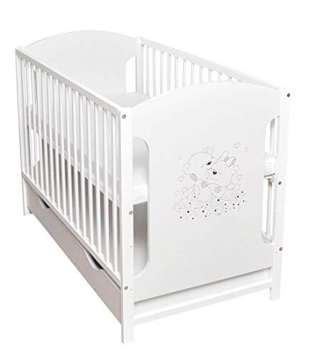 Cuna de bebé, con cajón, 120 x 60 cm, color blanco, estable, con diseño de corazones, colchón nuevo