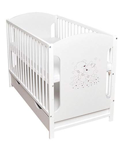 Babybett Gitterbett Kinderbett Schublade 120x60cm Weiß Stabil mit Motiv Herzchen Matratze Neu