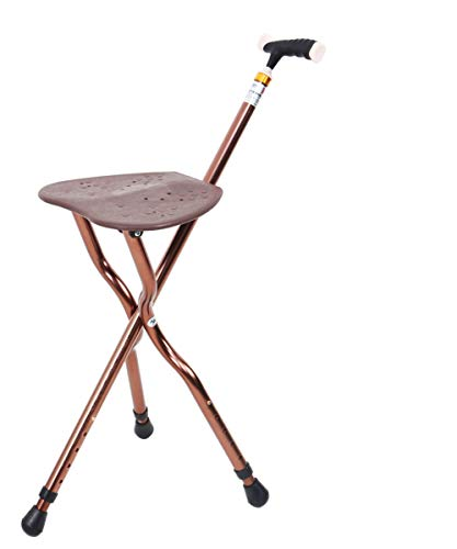 Folding Cane Seat - Deluxe Adjustable Height Cane with Seat Lightweight Combo Walking Cane 350 lbs Aluminum Travel Aid for Men and Women Gift Brown