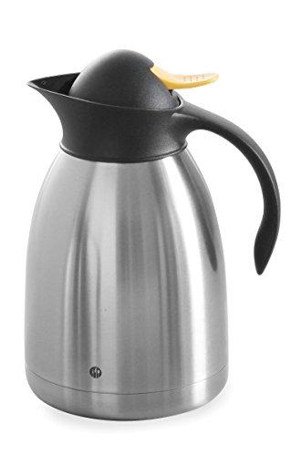 HENDI Isolierkanne, mit gelbem Druckverschluss, Doppelwandige, Kaffekanne, Termoskanne, Teekanne, 1,5L, Edelstahl, Polypropylen, ø145x(H)230mm