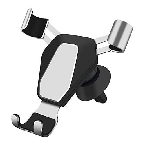 Huposdxjczzj Soporte Movil Coche, Tenedor de teléfono móvil Universal Celular Soporte de Soporte de ventilación de Aire de Metal con Clip Ajustable (Color : Silver)
