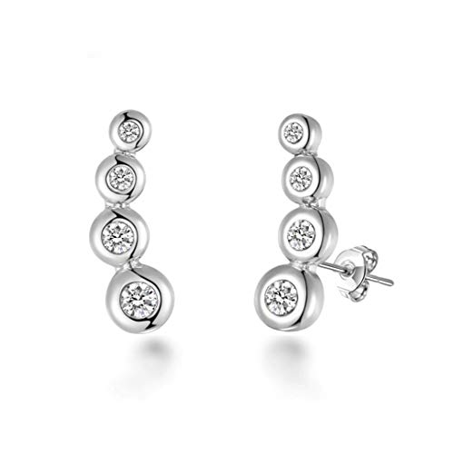 Silver Four Stone Climber Earrings Created With Austrian Crystals
