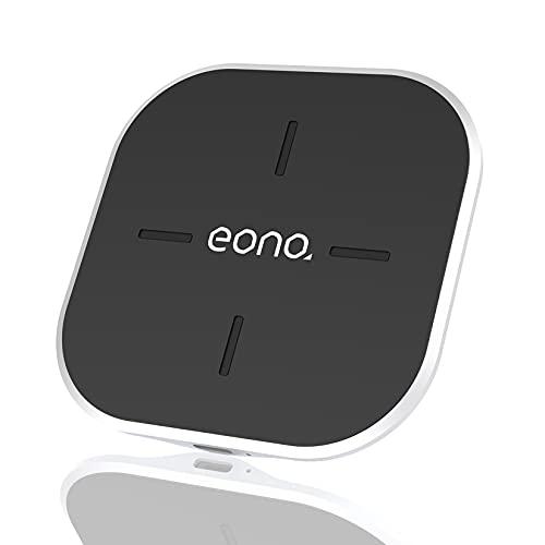 Amazon Brand - Eono Cargador inalámbrico Rápido, C2 Cargadores por inducción Qi-Certificado 15W MAX Compatible con iPhone 12/12 Mini/12 Pro/12 Pro MAX, Galaxy S20/20+/20 Ultra, AirPods Pro(Negro)