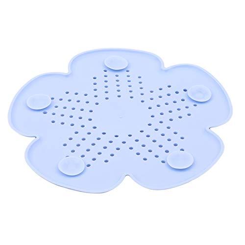 SUNSKYOO Colador de silicona con forma de flor para fregadero de cocina, para baño, bañera, ducha, color azul