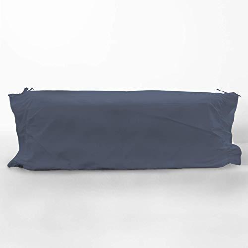 Pizuna 400 Hilos Funda de Almohada cilíndrica Azul Oscuro, para cojín de 90cm, 100% algodón Tejido de satén Suave y Transpirable, (Cama 90 cm, 45 x 115 cm)