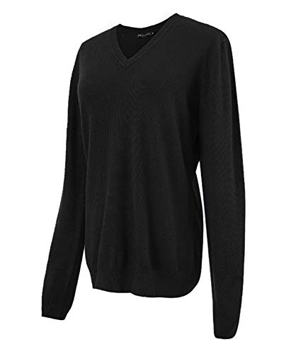 Urban CoCo Women's V Neck Long Sleeve Solid Classic Knit Pullover Sweater Tops (Black, M)