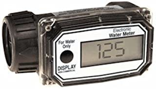 GPI 113255-4, 01N31GM Nylon Turbine Water Flowmeter with Digital LCD Display, 3-30 GPM, 1-Inch FNPT Inlet/Outlet