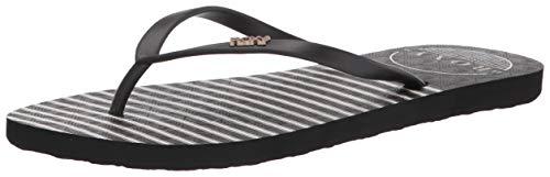 Roxy Women's Viva Stamp Flip Flop Sandal, Anthracite 21, 7