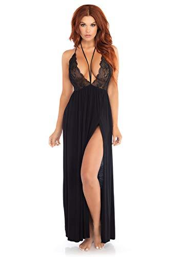 Leg Avenue Jersey Gown Sleepwear Pajamas for Women, black, Large