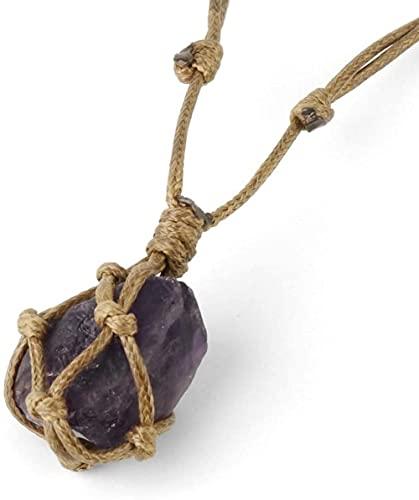 Collar Mujer Collar Hombre Colgante Collar con colgante en Piedras naturales Vintage Cuerda de madera natural Irregular Púrpura Amatista Personalidad Moda Reiki Power Stone Colgante Joyería de Navidad