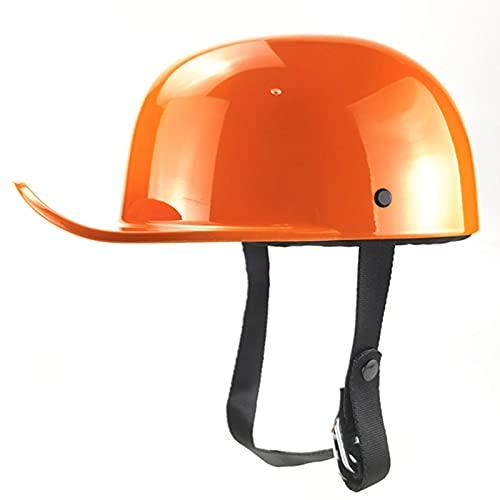 Medio casco de motocicleta, motocicleta de cara abierta, retro, mitad casco de béisbol, retro, media gorra de béisbol, media casco de béisbol para hombre y mujer, certificación Street Cruiser-DOT