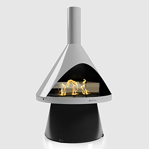 Terra Flame Lloyd Portable Fireplace - Modern Design Freestanding Gel Fuel Fireplace, A Smokeless and Ventless Corner Fireplace for Indoor and Outdoor, Cool Gray