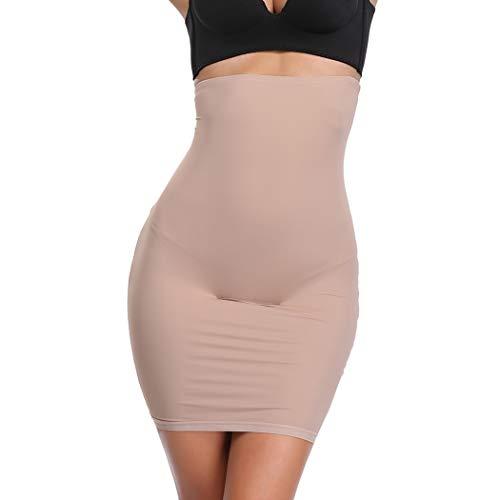 Joyshaper Unterröcke Miederrock Damen Unterrock Unterkleid Miederkleid Halbunterrock Hohe Taille Nahtlose Unterwäsche für Frauen (Beige-Mit Haken, Medium)