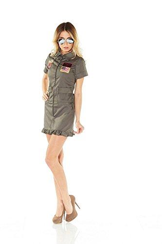 shoperama Deluxe Piloten-Kostüm Jetpilotin Damen inklusive Brille Pilotenkostüm Jetpilot, Größe:S