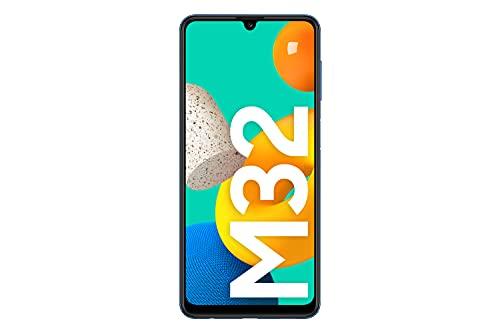 Samsung Galaxy M32 Android Smartphone ohne Vertrag, 6,4-Zoll -Infinity-U-Display, starker 5.000 mAh Akku, 128 GB/6 GB RAM, Handy in Blau, deutsche Version exklusiv bei Amazon - 2