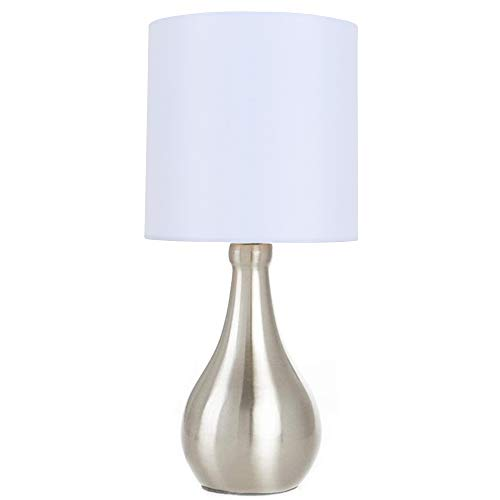 POPILION Simple Design Metal Brushed Nickel Bedroom Living Room Bedside Table Lamp, White Fabric Shade Round Small Table Lamp