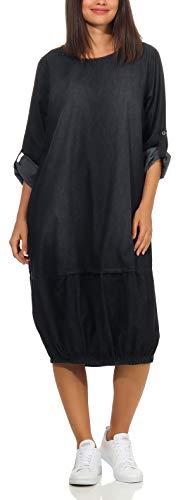 Malito Damen Jeanskleid | Maxikleid mit ¾ Ärmeln | stylisches Freizeitkleid - Kostüm 9960 (dunkelgrau)
