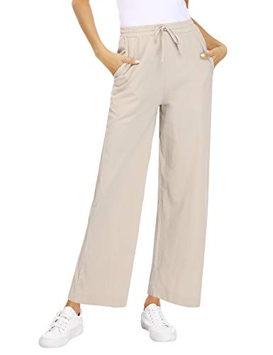 Akalnny Pantaloni Donna Estivi Casual Larga Elegante Pantalone Solido Colore Larghi Donna Leggeri Vita Alta con Elastico Lino Pantaloni(Albicocca, S)