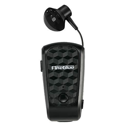 5 auricolari con filo MagiDeal Cuffie Stereo Senza Fili Clip-on Auricolari Cuffie Bluetooth Retrattili - Nero