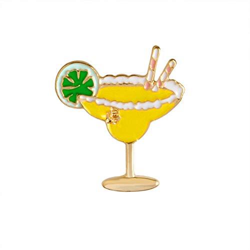 JTXZD broche papegaai vakantie Beach Party dranken citroen cocktail cartoon mode broche pins op pin denim jas badge