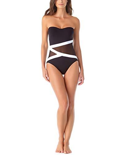 Anne Cole Women's Mesh Bandeau One Piece Swimsuit, Black White, 10