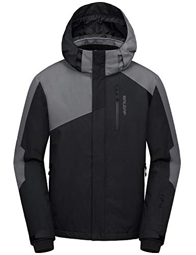 BALEAF Men's Ski Snow Jacket Windproof Waterproof Winter Coat Fleece Lined Snownorad Jacket with Utility Zipper Pockets Black/Gray XXLarge