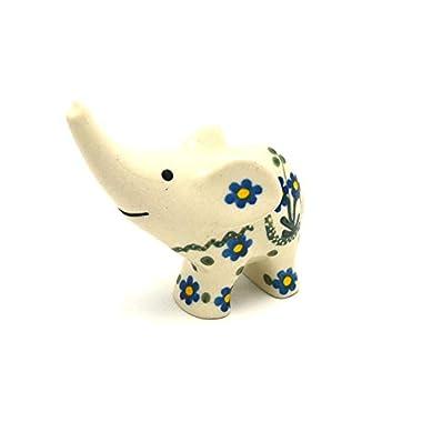 Polish Pottery Ring Holder - Elephant - Blue Spring Daisy