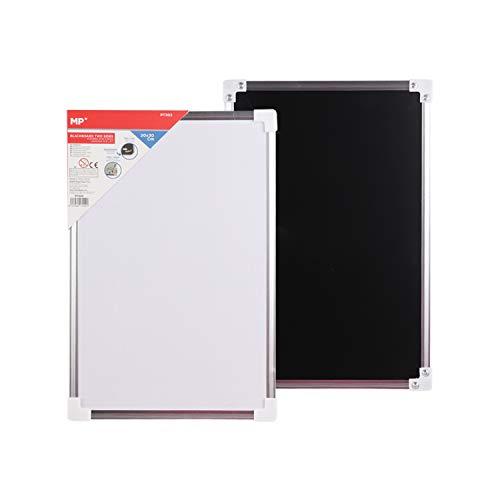 MP - Pizarra Doble Cara, Pizarra Blanca Magnética de Rotulador y Pizara Negra de Tiza, Marco de Aluminio - 20x30 cm