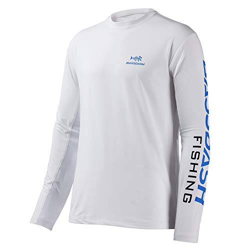 Bassdash T-Shirts de pêche pour Hommes Protection Solaire UV UPF 50+ T-Shirt à Manches Longues,Logo Blanc/Bleu Vif,M